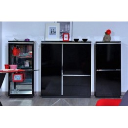 Sciae Furniture Electra 38 Black - No 3 Storage Element Cupboard  4 Doors with lights