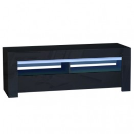 Sciae Furniture - Galaxy 2 38 - No6 TV HiFi Unit with 1 Flap and Red, Green & Blue LED lights - Black Finish