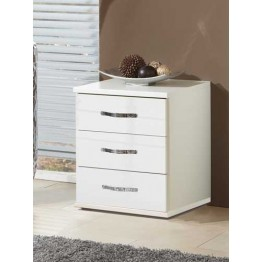 Bedside Chest of 3 Drawers by Wimex -Trio Pearlgloss white/chrome - bedside chest - Model Number 060317