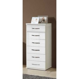 Bedside Chest of 6 Drawers by Wimex -Trio Pearlgloss white/chrome - Model 060318
