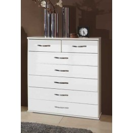 Chest of Drawers by Wimex - Trio Pearlgloss white/chrome -7 drawer wide chest - Model 060319