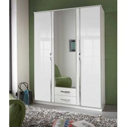 Wardrobe by Wimex - Trio Pearlgloss white/chrome - with mirror & drawers -Triple - Model 060484