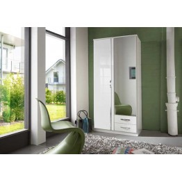 Wardrobe by Wimex - Trio Pearlgloss white / chrome - with mirror & drawers - Model 060210