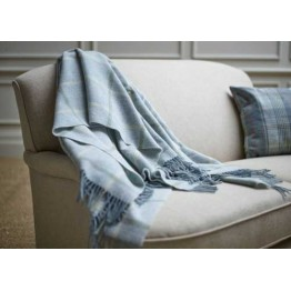 Wood Bros Sofa Throw - Window Pane Aqua