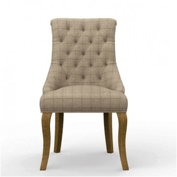 3219 Wood Bros Old Charm Atticus Button Back Dining Chair in Fabric or Leather